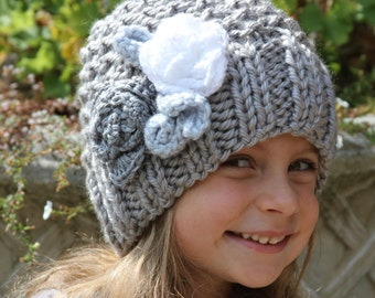 Knitted hat. Girls grey hat. Flower hat. Crochet hat. Girls knit hat.  Age 5 -Adult size