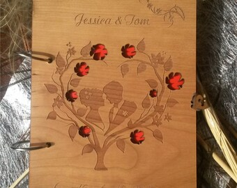 Custom wedding guest book/Rustic guest book/Engraved wooden guest book /Cherry wood wedding book/anniversary guest book/laser cut
