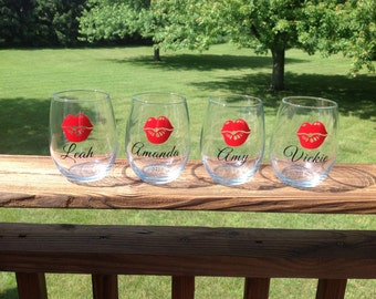 Stemless Wine Glasses with Lips and Name - choose your colors and font