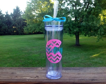 Skinny Tumbler with Initial in Chevron Pattern and Name -  Your Choice of Colors!