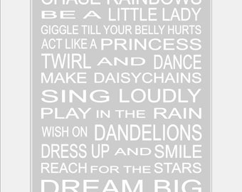 Baby Girl Art - Girl Nursery Rules - Girl Rules - Playroom Rules - Girl Nursery Wall Art - Baby Girl Decor - Girl Nursery Print. 8x10 print