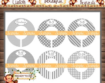 Assembled Grey Baby Closet Dividers Nursery Closet Dividers Baby Clothes Divider Custom Closet Divider {M211}