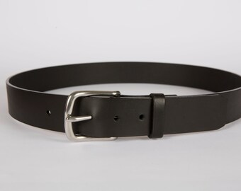 Hadston Vegetable Tanned Leather 1 1/2'' wide Belt - Black