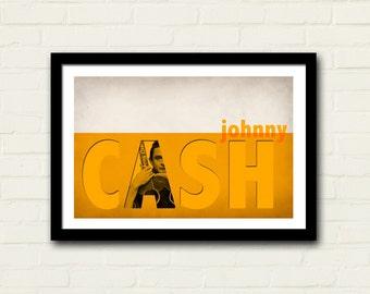 Johnny Cash Poster Print 11 X 17 Art Print, Band Poster, Music Print, Orange