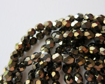 25 Fools Gold Czech Glass Beads - Fire polished 6mm