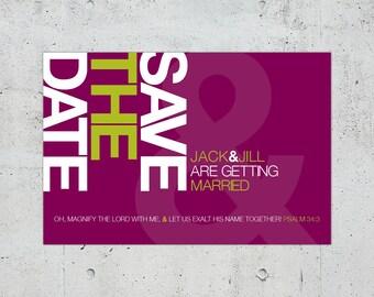 Simple Minimal Modern Helvetica Typographic Wedding Save the Date | Printable DIY | Color Customizable