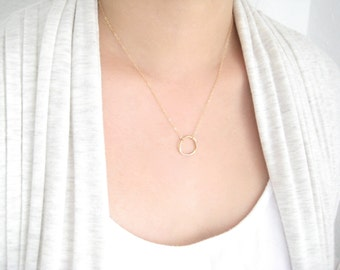 Open Circle Necklace, Eternity Necklace, Bridesmaid Gifts, Forever Necklace, Gold