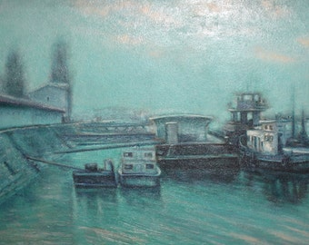 1983 Bulgarian art seascape oil painting signed