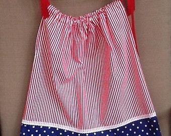 Handmade Patriotic Pillow Case Dress 4T Cotton, Ribbon, Red, White, Blue, Striped, Polka Dot