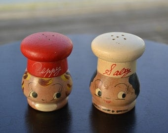 Salty and Peppy Shakers, Wooden, Salt and Pepper Shakers