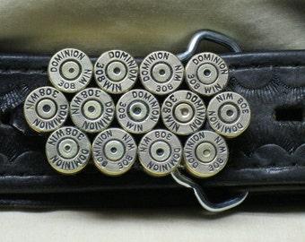 308 Winchester Bullet Belt Buckle Brass Straightline