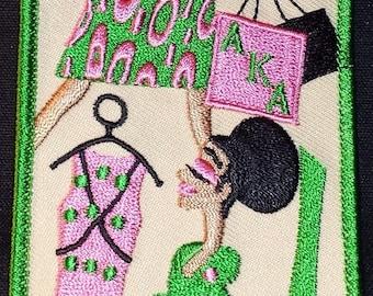 Alpha Kappa Alpha Embroidered Lady Diva Luggage Tag