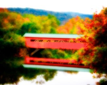 Covered Bridge, at Taftsville Vermont, during fall in New England, an Autumn Art Landscape Photograph