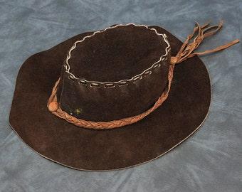 Vintage 1970s Suede Leather Hippie Hat