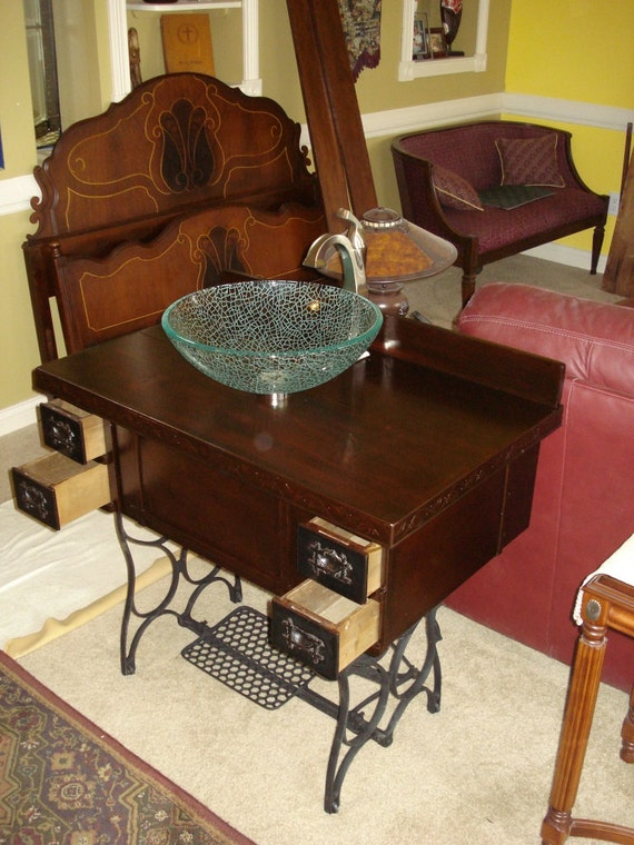 Where Old Meets New Repurpose Treadle Sewing Machine To A