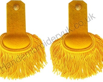 Gold/Yellow Silk Shoulder Epaulettes with Fringe Marching Band Epaulette (Pair)