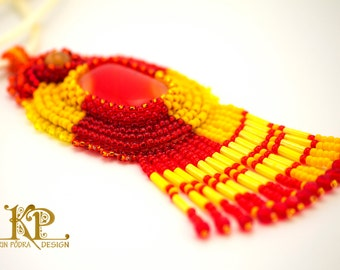 Red and yellow bead embroidery pendant with beautiful handmade glass cabochon