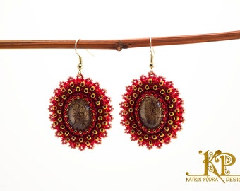 Bead embroidered elegant red and gold earrings with handpainted glass cabochons