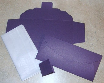 Men's Handkerchief Box Package Flat Fold Envelope Shimmering Deep Purple