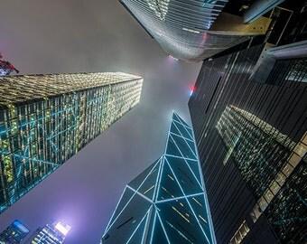 China - Hong Kong - Skyscrapers at night - SKU 0084