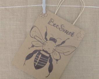 Bee Gift Bag Handmade Sweet Honeycomb Kraft Paper 10 x 8 x 5.75