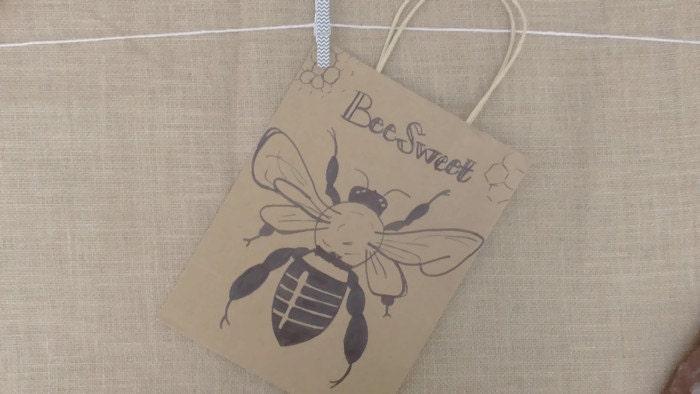 bee gift bag handmade sweet honeycomb kraft paper 10 x 8 x from thehollowashtree on etsy studio. Black Bedroom Furniture Sets. Home Design Ideas