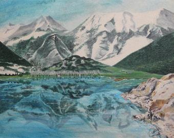 Vintage Greek lake mountain landscape oil painting