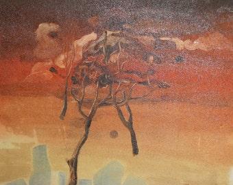 1989 Surrealist landscape oil painting signed