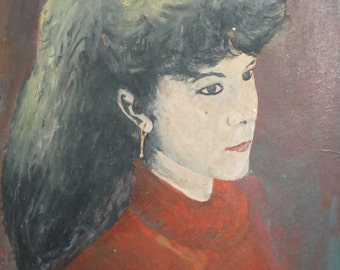 Vintage portrait oil painting woman