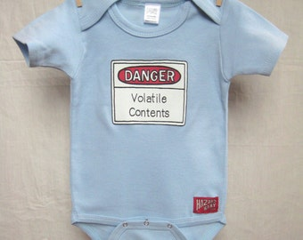 Volatile Contents Baby Bodysuit - Danger Volatile Contents Baby Bodysuit - Danger Baby Bodysuit - Warning Label Baby Clothes - Funny Baby