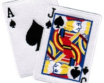 BLACKJACK CARDS PATCH iron-on embroidered playing card motorcycle emblem Las Vegas Gambling Ace Jack Spades