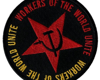 USSR COMMUNIST PATCH workers of the world unite Hammer Sickle embroidered iron-on symbol
