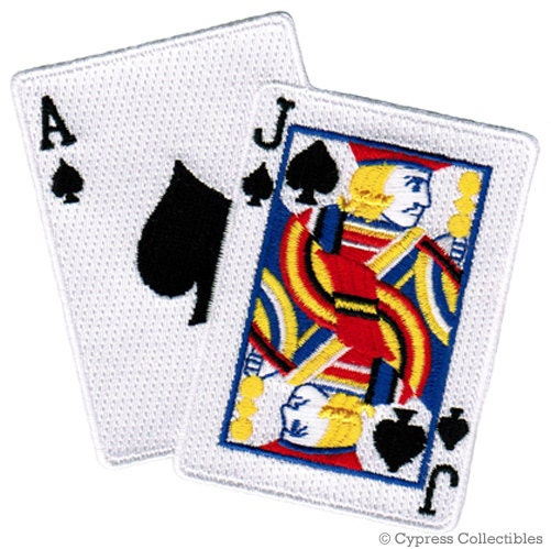 BLACKJACK CARDS PATCH Iron-on Embroidered Playing Card