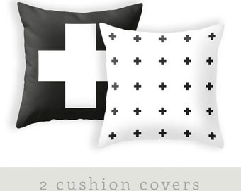 TWO combined cross pillow covers. Black and white crosses pillow black and white cushion black and white pillow cross cushion cross throw