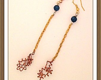 Handmade MWL ling dangle copper chain and wire earrings with blue bead. 0123