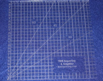 """Square Ruler 1/8""""  Clear Acrylic   6 1/2"""" - Great for Squaring Up"""