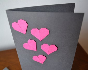 Card with 5 origami paper hearts - wedding, invitation, anniversary, I love you card - blank or with individual text