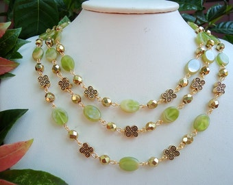 Italian Glass Triple Strand Necklace.Crystals.Green.Gold.Statement.Chunky.Bridal.Pastel.Mother's.Birthday.Multi Strand.Gift. Handmade.