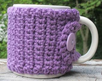 Purple Crochet Mug Cozy with Button Ready to Ship