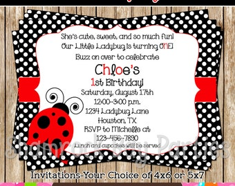 Sweet Little Ladybug- Digital Ladybug Birthday Invitation-Girls-DIY-Print Your Own-Red-Black-Ladybug Invite