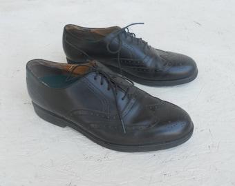 Vintage Men's Black Towncraft Lites Wingtip Dress Shoes 11 M FREE SHIPPING