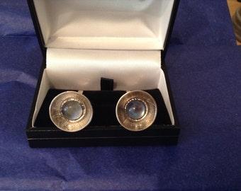 Moonstone & hallmarked sterling silver cufflinks with leaf imprint