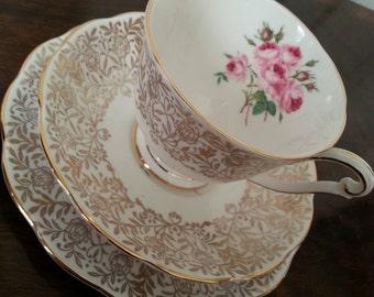 Vintage Queen Anne Tea Cup, Saucer & Cake Plate, Fine Bone China, 3 Piece Set