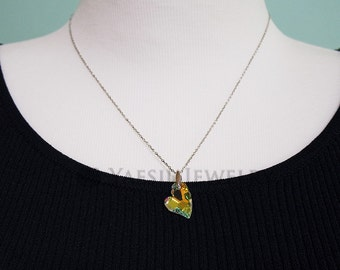 Crystal AB Heart Pendant Necklace