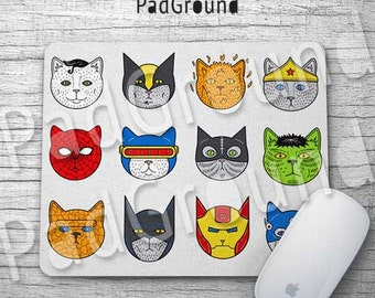 Batman, Personalized Computer Mouse Pad, Cats Super Heros Mouse Pad, Natural Soft Fabric rubber backing Mouse Pad - BC07