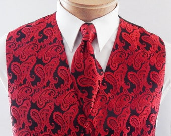 Mens Vest Red On Black Tone On Tone Satin Paisley Vest Tie And Pocket Square Set