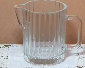 Small Vintage Clear Glass Pitcher