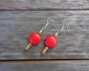Mars. Bold red handmade earrings.