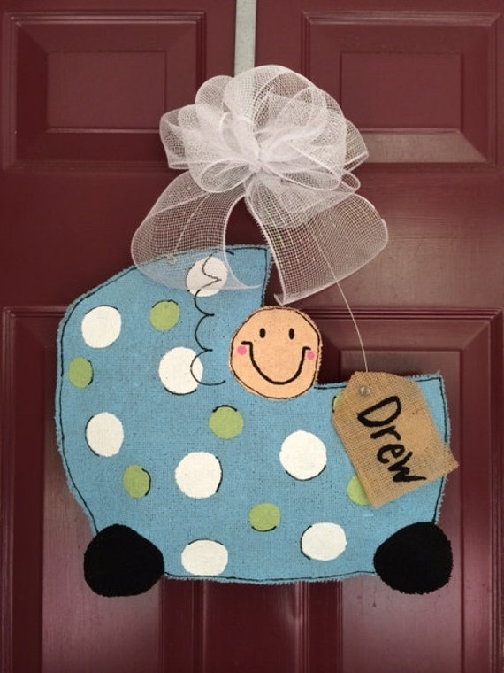 Items similar to burlap hand painted boy baby carriage for Baby boy door decoration