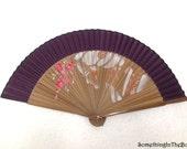 Handmade Bamboo Hand Fan Purple Hand Painted Fan Hand Painted Hand Fan Folding Fan Wedding Décor Gifts Idea Wedding Gifts Thailand Souvenir